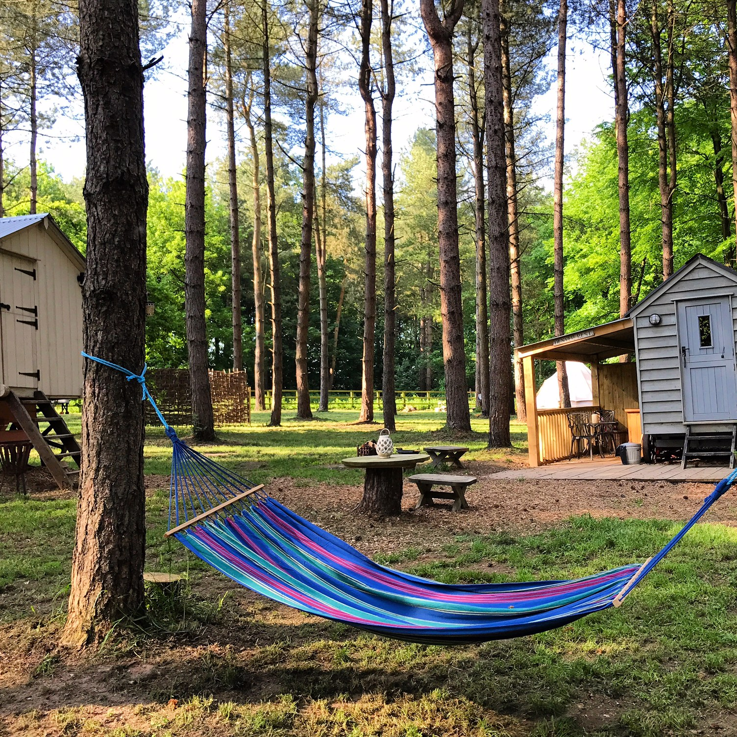 Denver Rest sits with Tawny Hut and they come as a pair. Perfect for 2 couples or if you have slightly older children who want their own space but still close enough to feel safe.