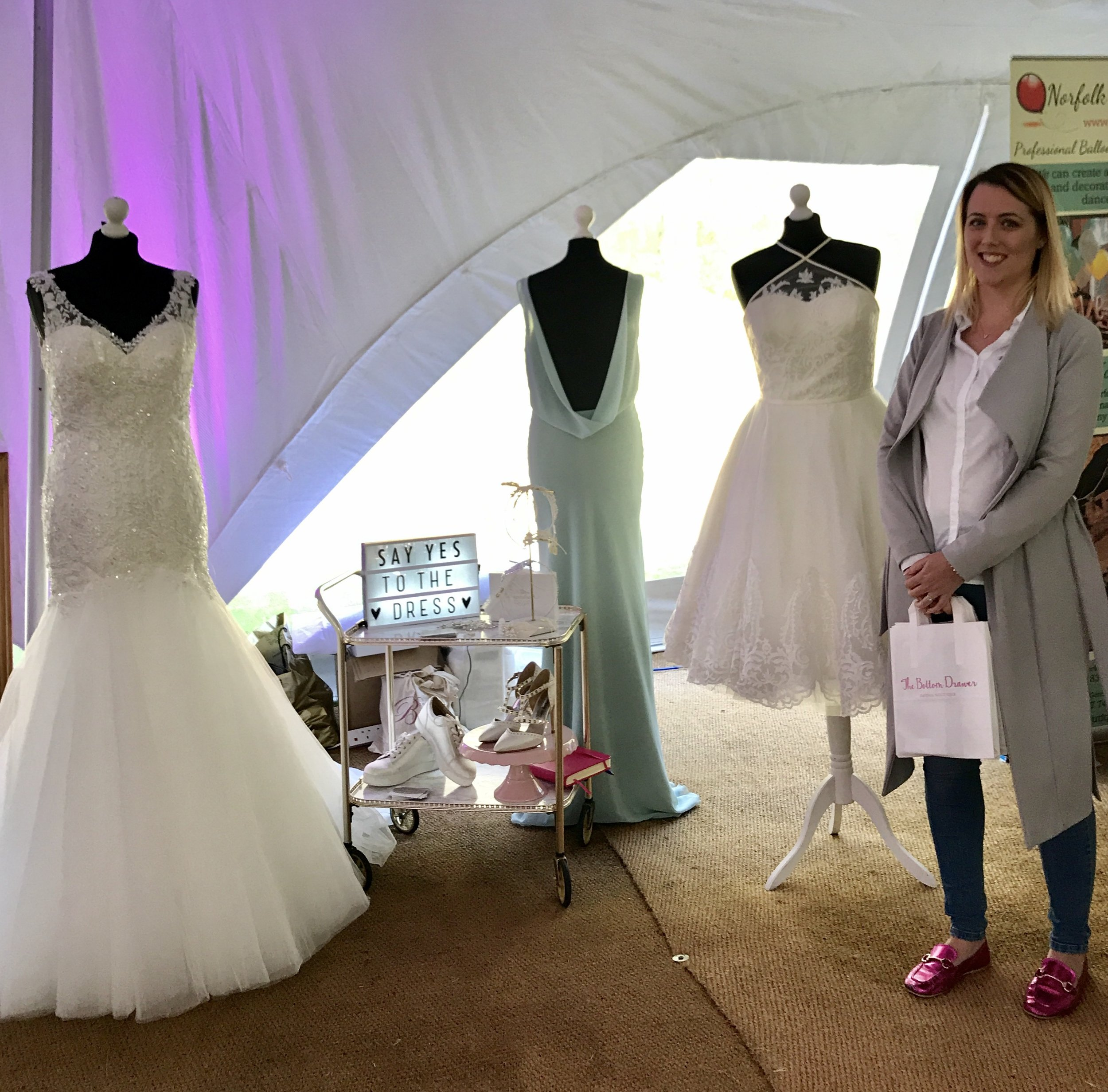 Victoria with her beautiful Gowns from Bottom Draw Bridal in Kings Lynn