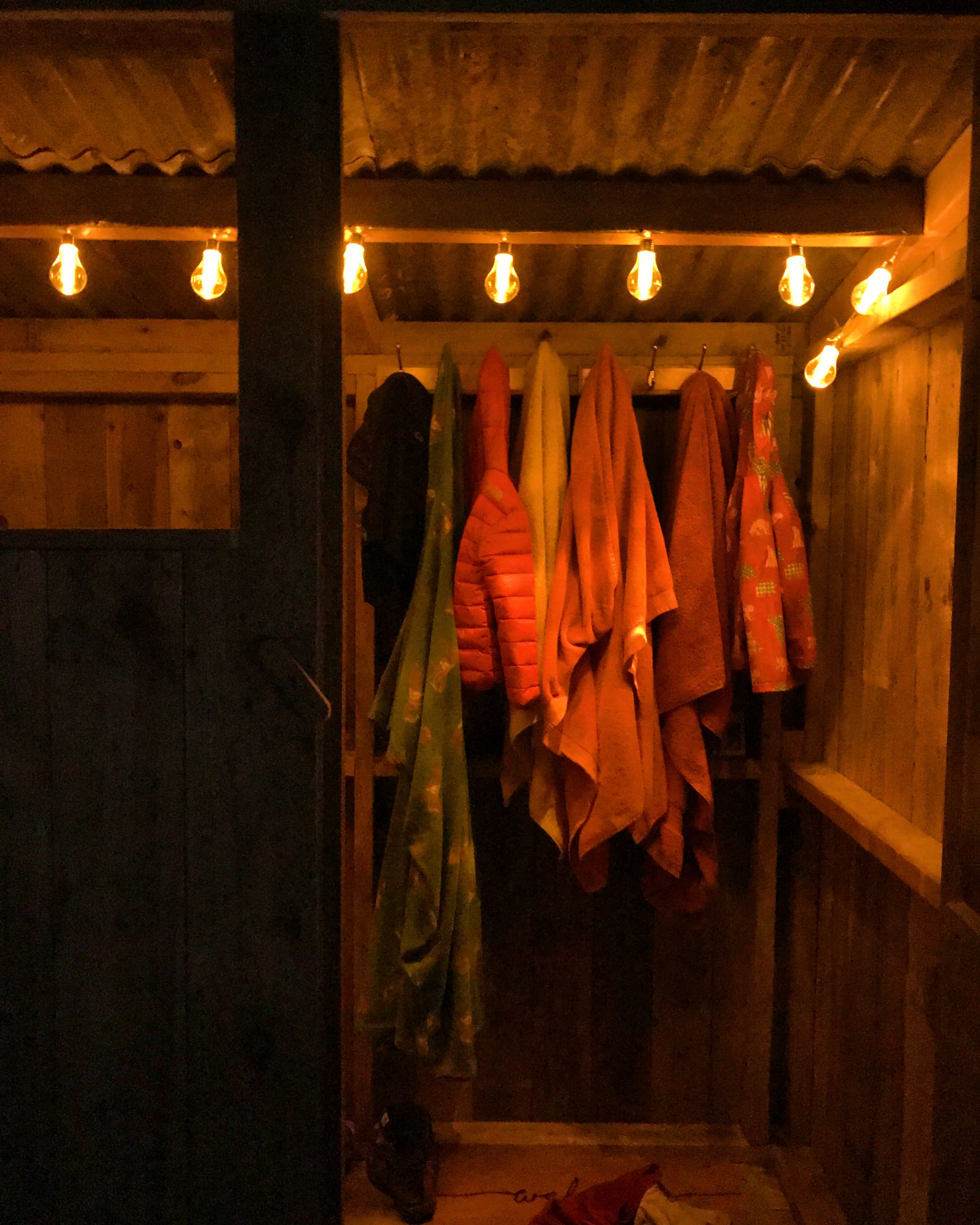 Changing room by night.