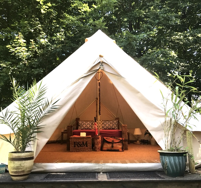 Our King Bell Tent sleeps 4 in a king size bed, 2 single beds, bbq, camping stove, fire pit. Pots, pans etc.