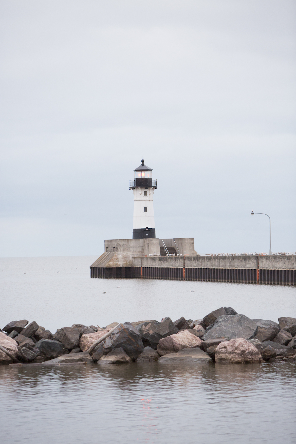 lighthouse trail on the waterfront on a overcast day