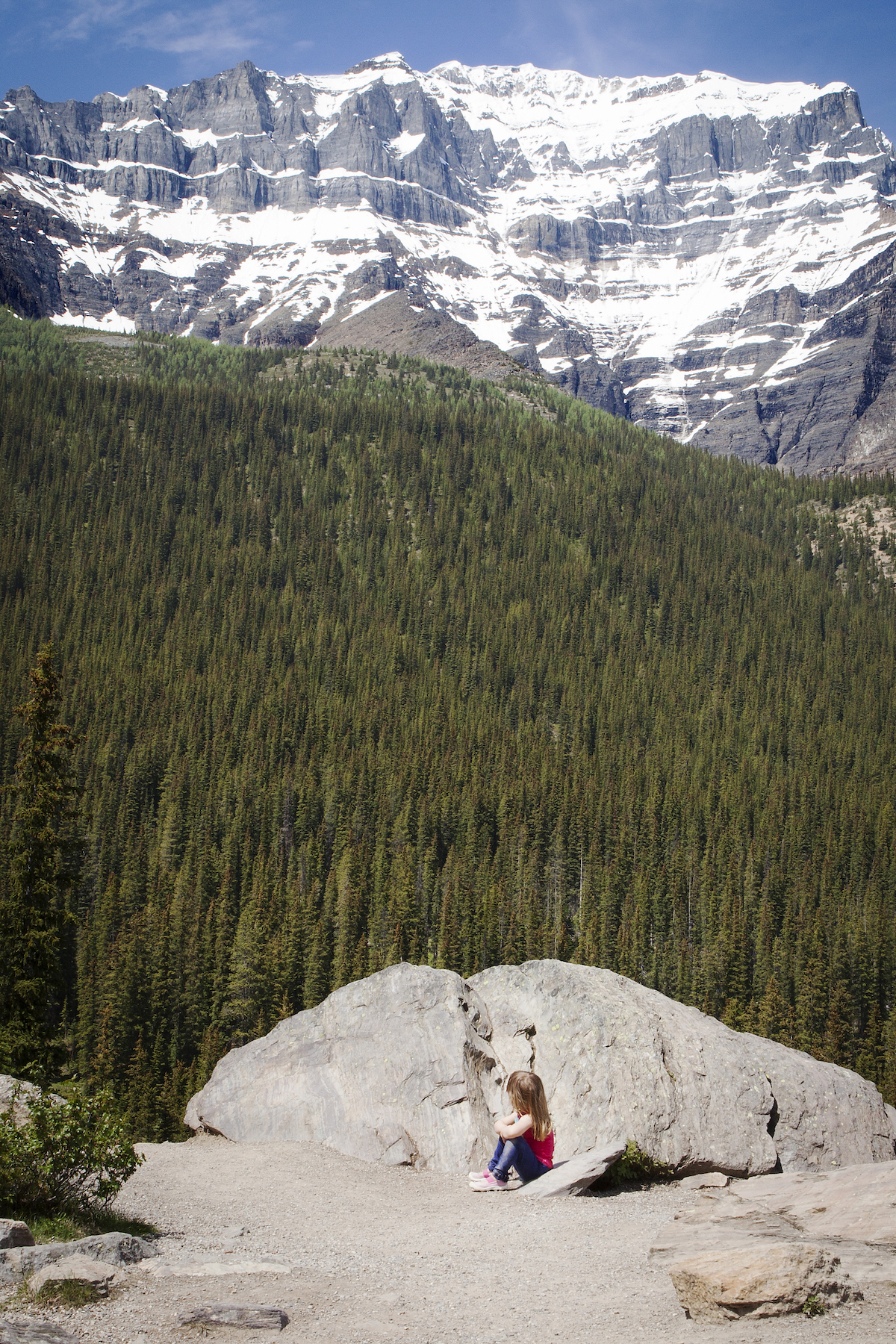 Hiking in Banff Canada on a beautiful spring day