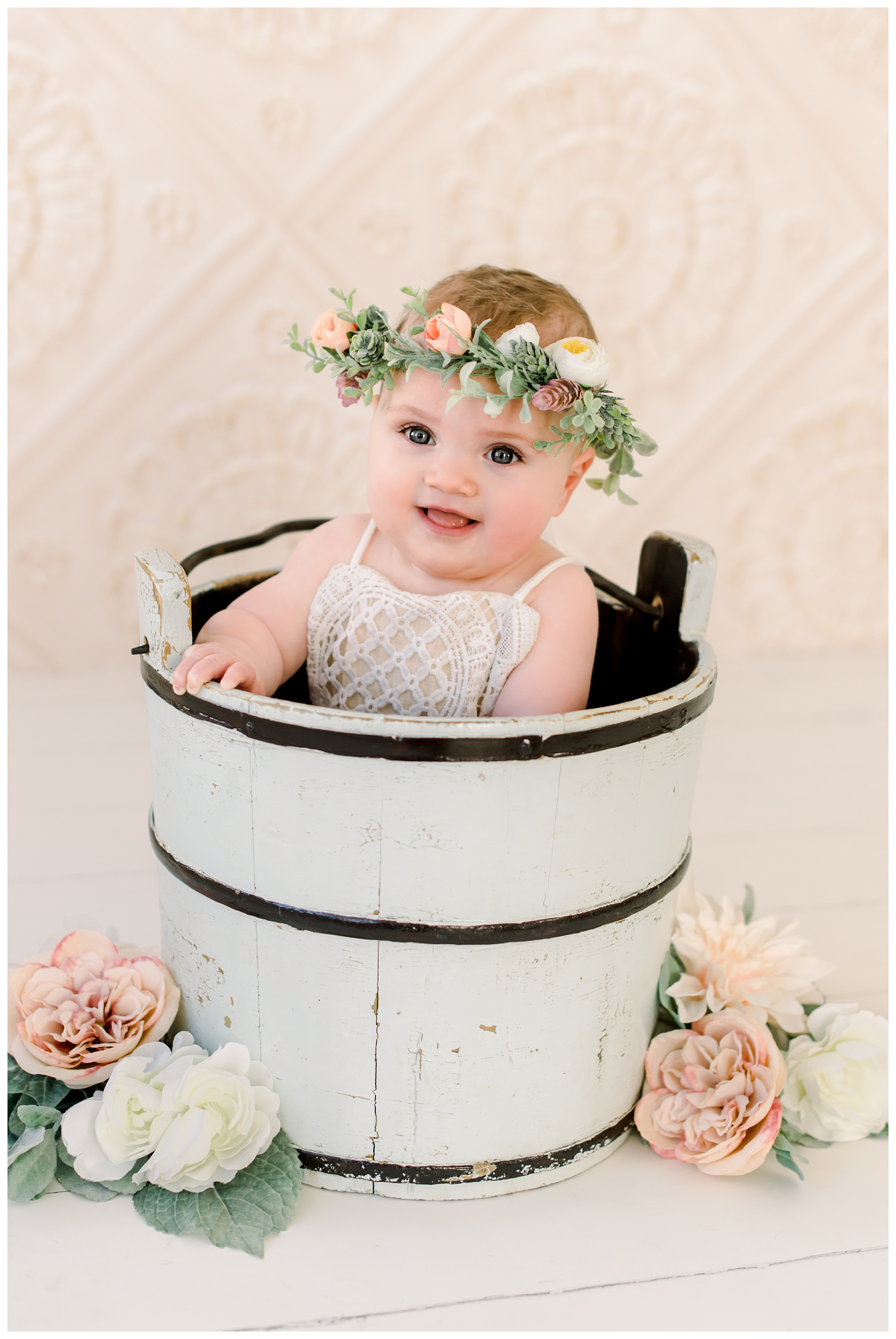 Maine Baby Photographer photographs 7 month old baby girl in Kittery Maine Studio at Sweet Light Portraits.