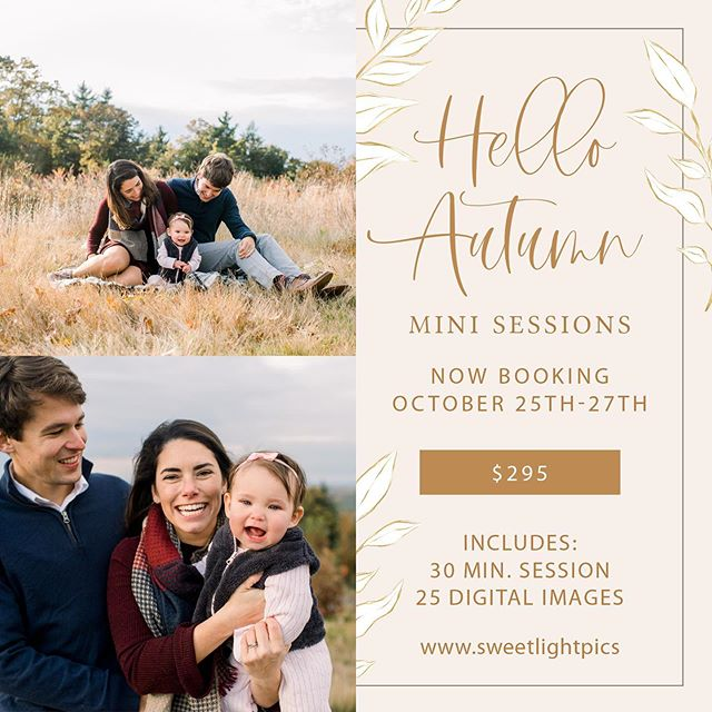 Fall mini sessions are here! Are you looking to document your family and perhaps you need photos for your 2019 holiday cards? Email me at  hi@sweetlightpics.com