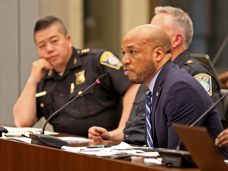 "Rufus Faulk speaks as the Boston City Council reviews ways to prevent season violence in Boston on June 25, 2019 in Boston, MA. (Staff Photo By Stuart Cahill/MediaNews Group/Boston Herald). ""We know violence happens all year, but there is an uptick during the summer,"" City Councilor Kim Janey said at a hearing at City Hall. ""We just saw this past weekend a spike in violence."""