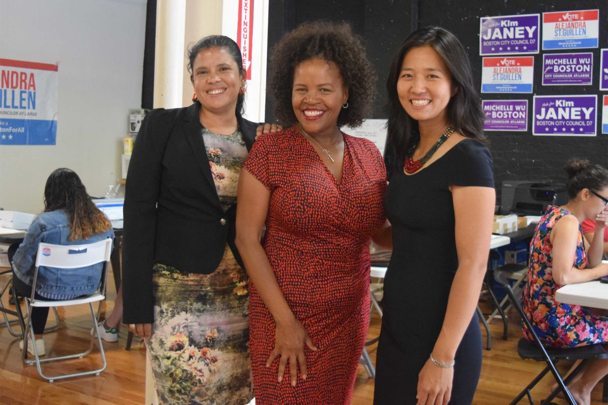 """Boston City Council candidates Alejandra St. Guillen, Kim Janey and Michelle Wu share a campaign office in Roxbury's Dudley Square neighborhood."" - Karen Morales"