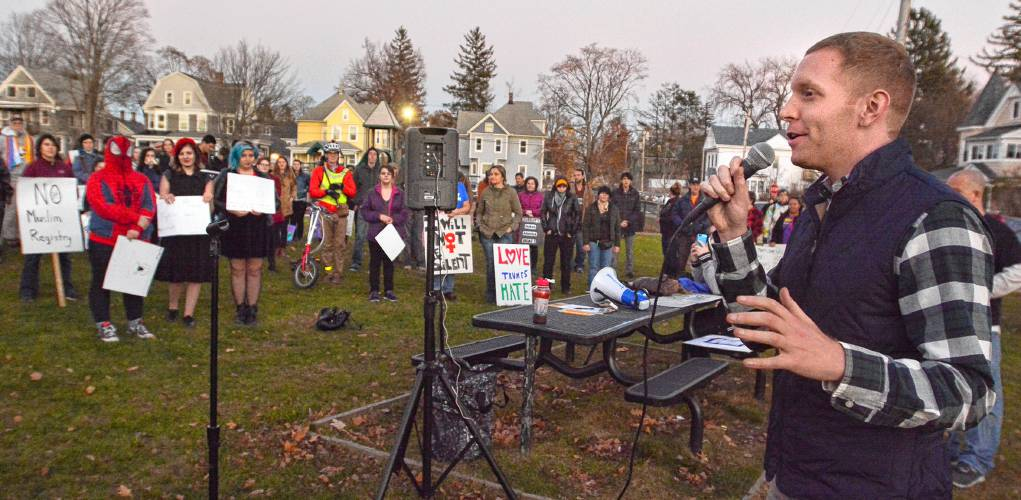 """Holyoke Mayor Alex Morse, front, speaks during a protest of president-elect Donald Trump's policies at Kennedy Park in Holyoke on November 19, 2016."" via Hampshire Gazette"