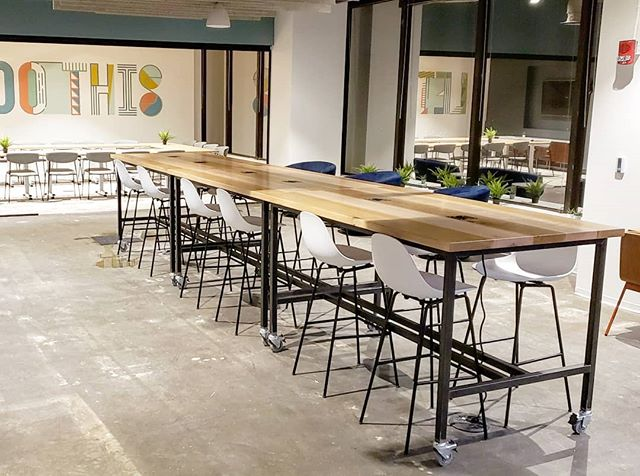 """More of the signature @gatherrva work tables for @gather757.  6ft x 42"""" tall with double locking casters, whiteoak, curly maple and ash tops with built in USB/Power. . . . #woodworking #coworking #handmade #handcrafted #locallysourced #makersmovement #interiordesign #tables #worktables #collab #va #rva #interiordesign #modern #functional #wood #woodisgood #whiteoak #ash  #curlymaple #casters #steel #metalworking"""