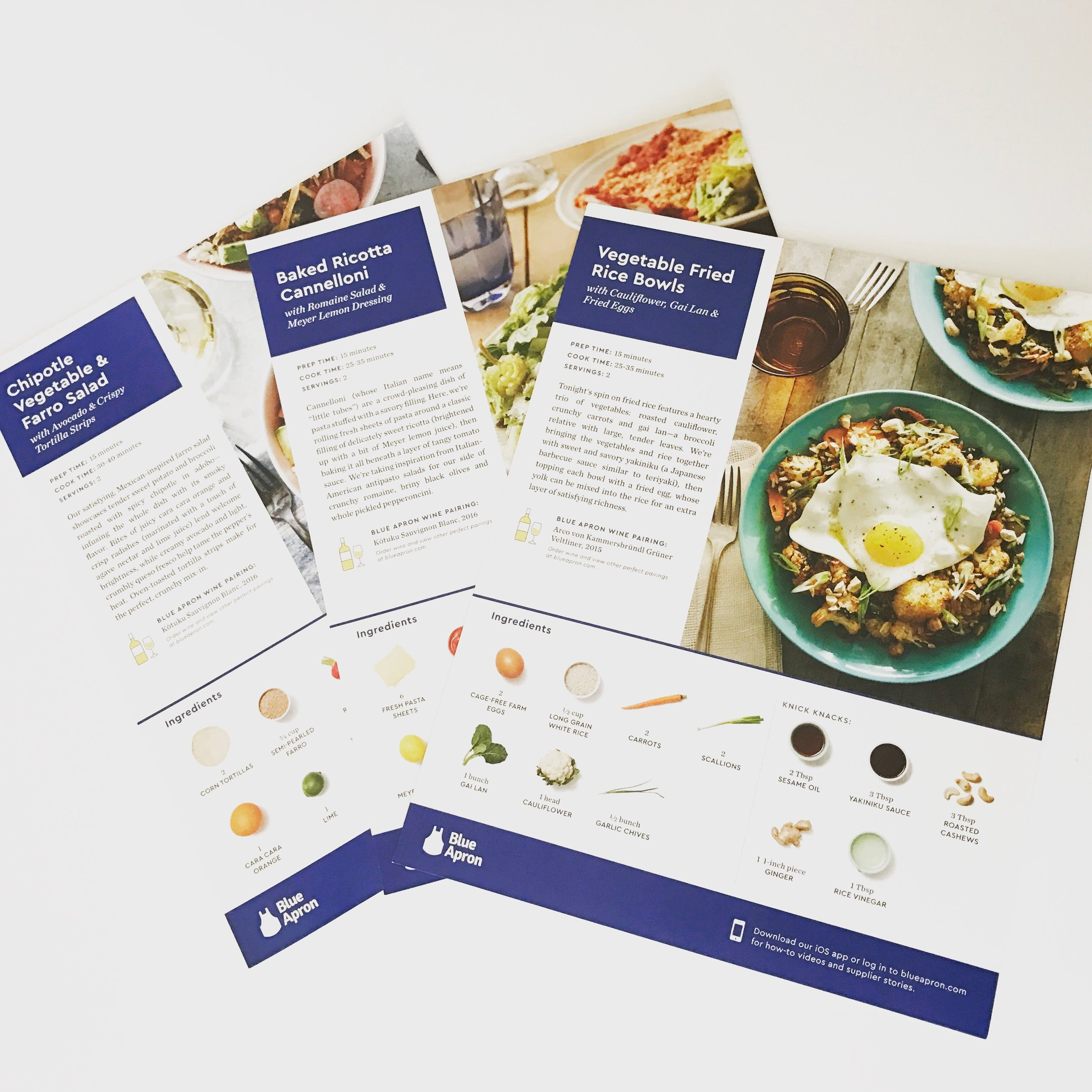 Recipes for Blue Apron Subscritption