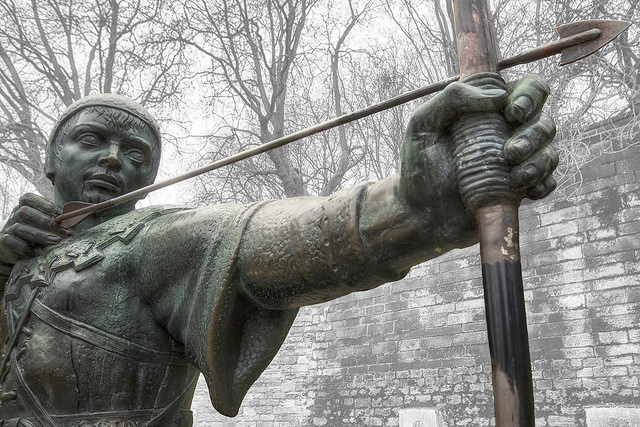 A statue of Robin Hood in Nottingham