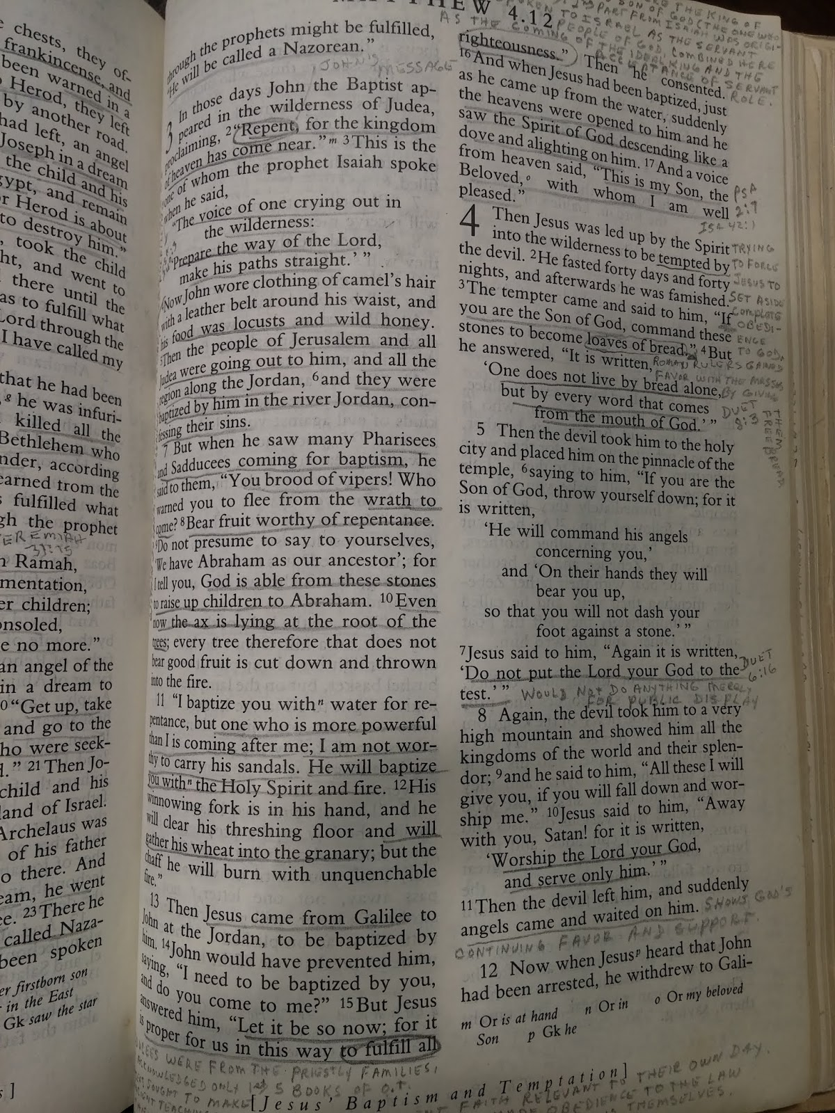 I will be reading through my Dad's Bible during Lent which has lots of notes on each page as you can see!