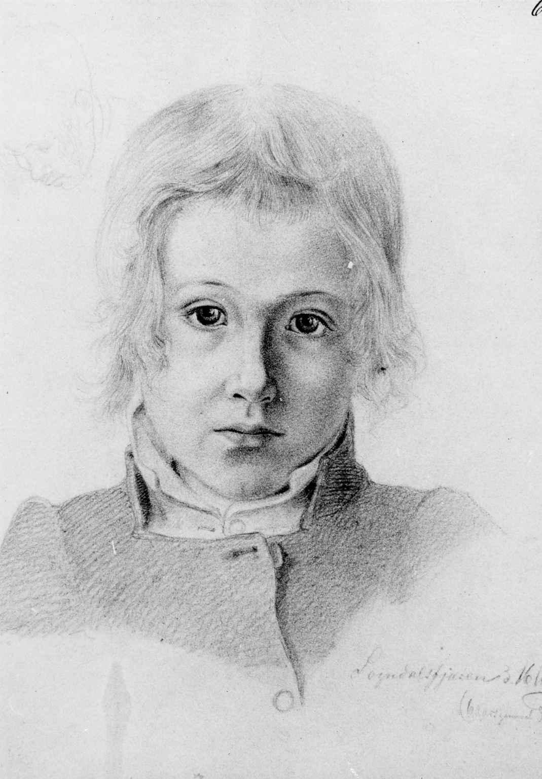 Portrett av gutt i Sogn, tegnet av Hjalmar Kjerulf, sommeren 1845 da Kjerulf og Hans Gude reiste sammen til Vestlandet.