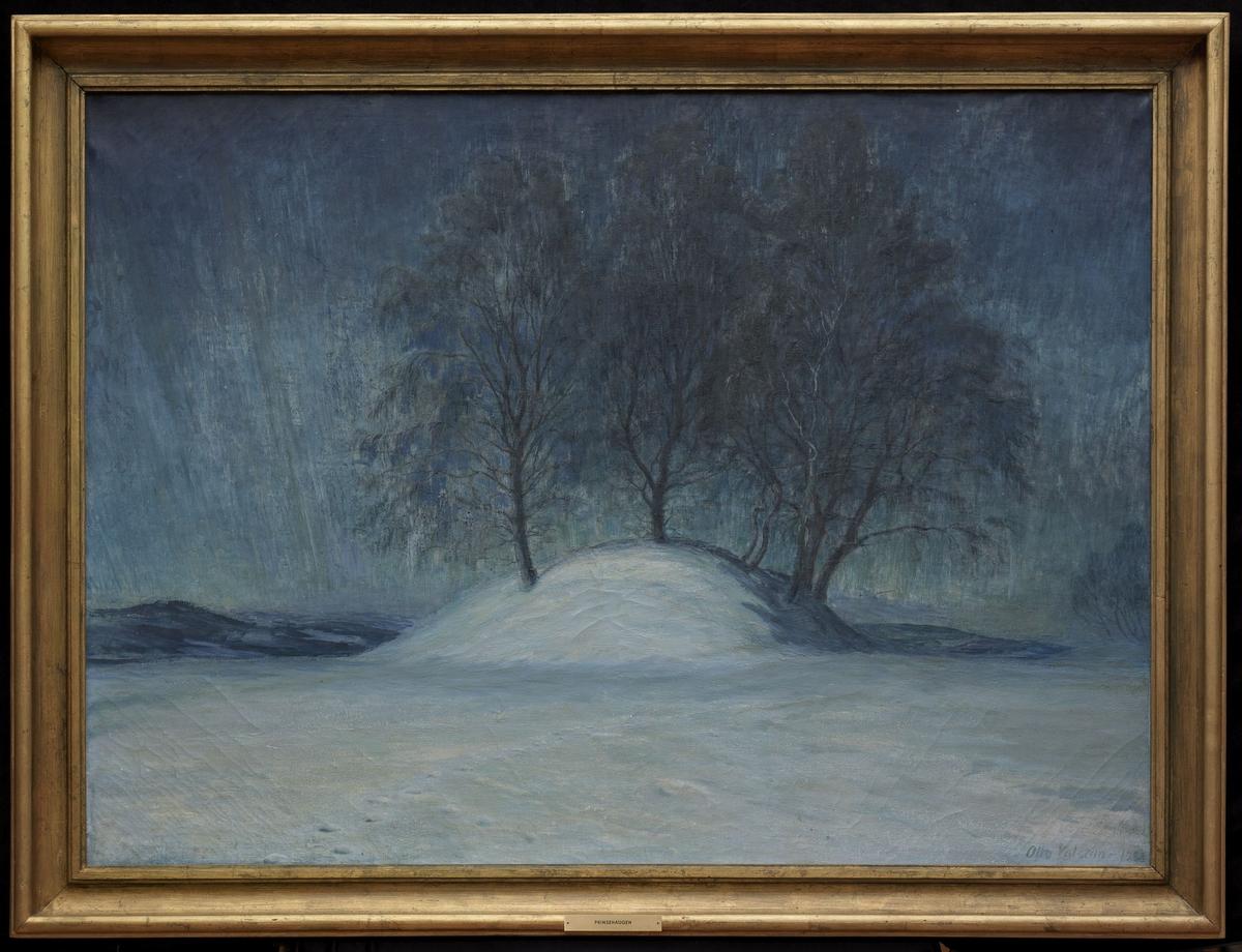 "Maleriet ""Prinsehaugen"" er malt av Otto Valstad og forestiller gravhaugen ved Asker prestegård. Hit kom kronprins Carl Johan på besøk i 1815 - derav navnet."