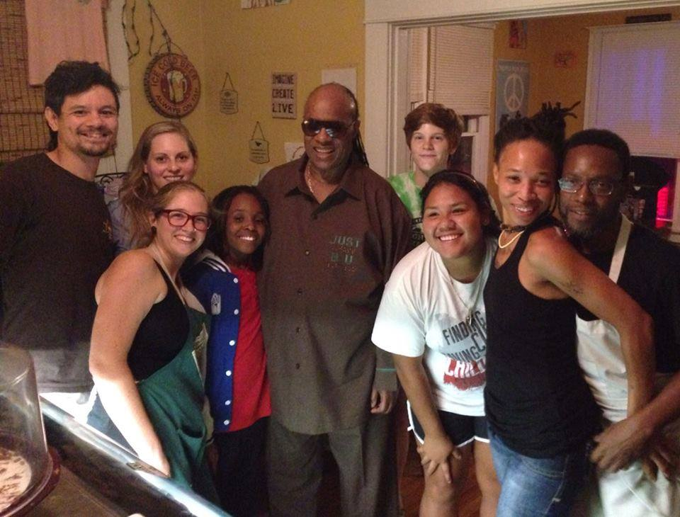 Stevie Wonder chillin with the staff on his second day at Imagine!