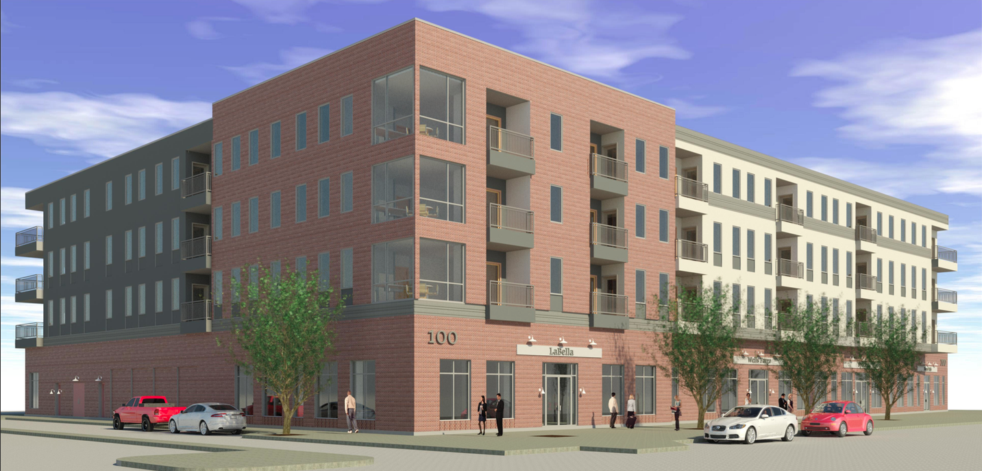100 West Water Apartments building exterior.