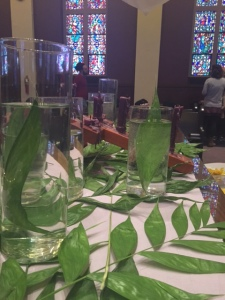 Palm Sunday table. We recycled these elements for our Maundy Thursday tables.