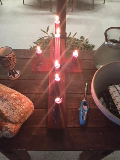 Pilgrims Lenten Cross--like a reverse Advent candle wreath.