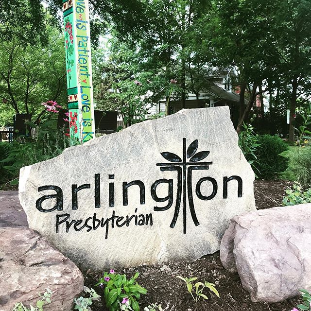 Check out our snazzy new rock in the garden! @arlingtonpresbyterianchurch logo is now part of our landscape/hardscape.