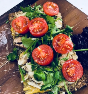 Sardines on toasted Rye with watercress, parsley, cherry tomatoes and sweet mustard with a side of pickled red cabbage   How to make this breakfast   Toast a piece of rye bread  spread with some sweet mustard  Open a tin of sardines and with a folk spread them onto the rye toast  Roughly chop watercress and lie on top of the sardines  Chop 3 cherry tomatoes  Eat, slowly without checking instagram of emails or facebook!  Enjoy!