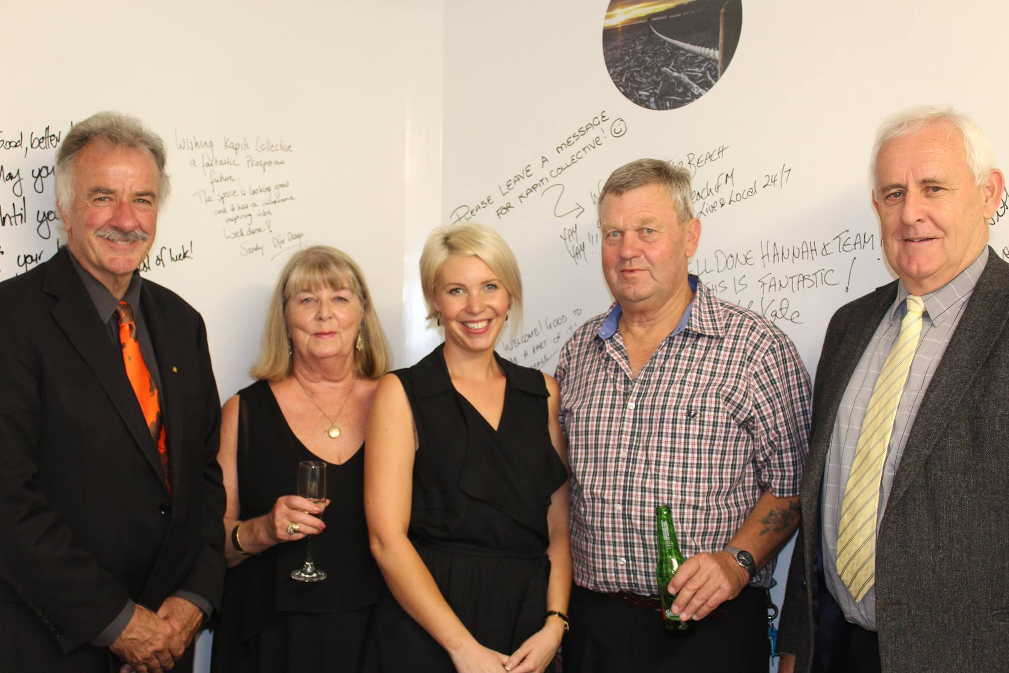 Opening night of Kapiti Collective. From left: Ross Church (Kapiti's mayor at the time), my mother Anne Delaney, me, my father, Paddy Delaney, and Dad's friend and Kapiti Collective neighbour at Quinovic Property Management, Bernard Parker.