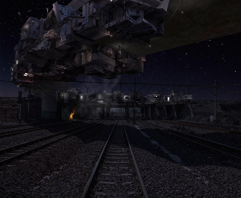 'bridge below starry skies'