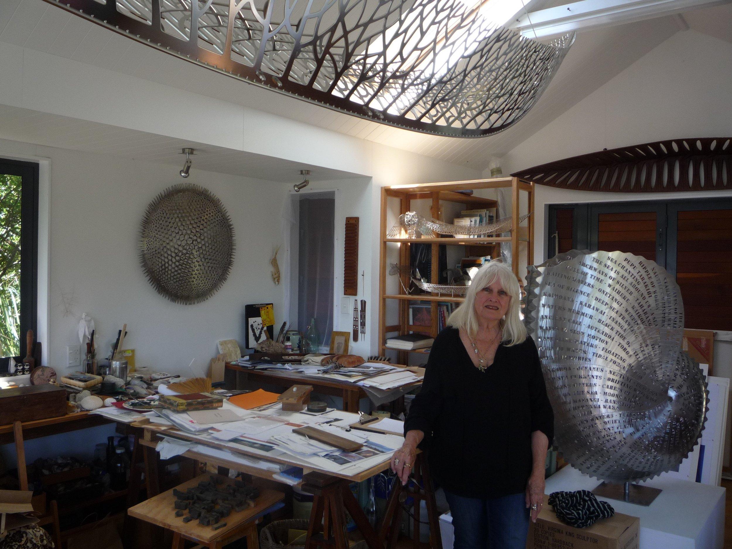 Virginia King in her Waiheke Island Studio . Image courtesy of Gulf News.