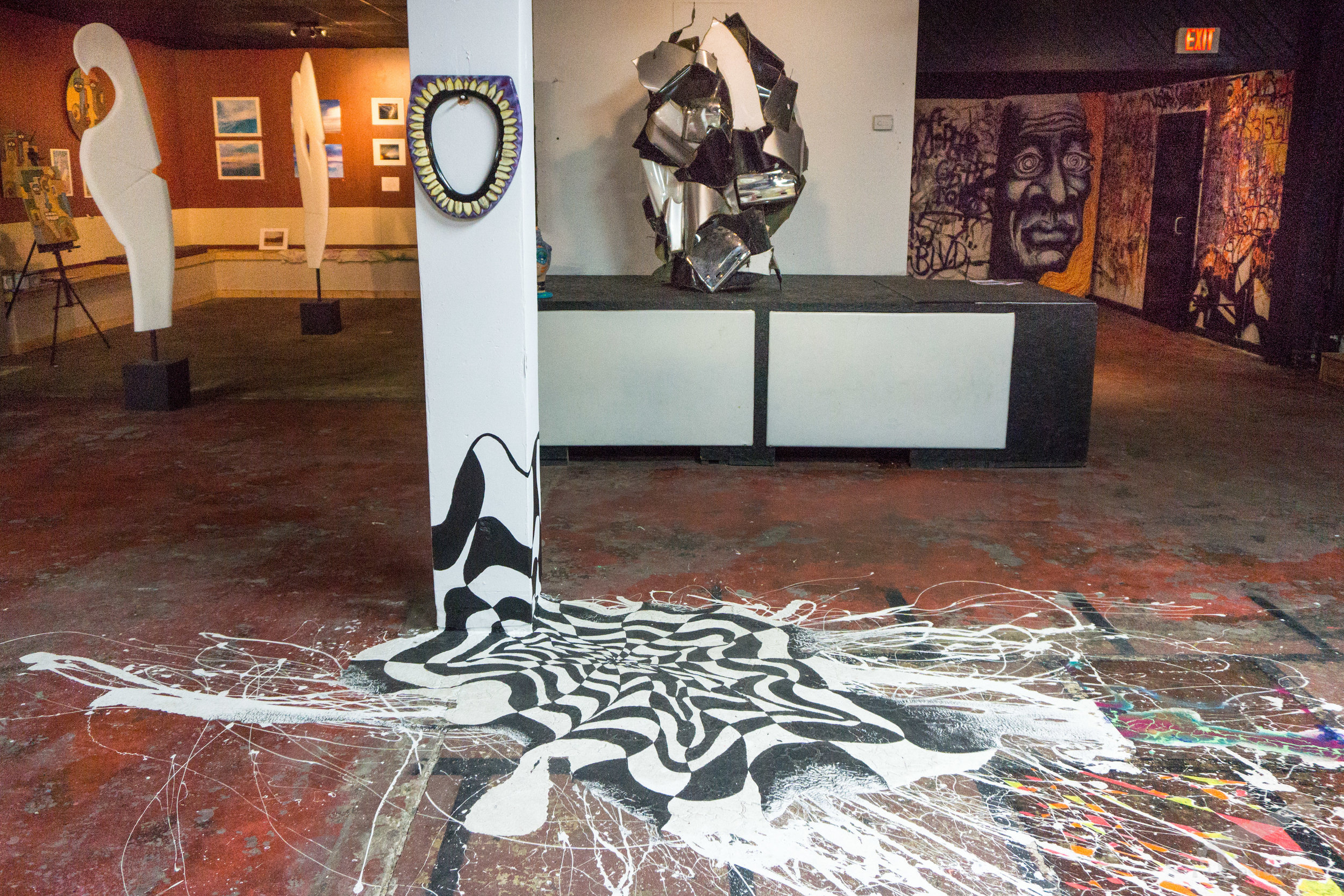 Trippy floors installations, potty mouths, abstract sculptures, larger-than-life-size faces, graffiti tags, water photography, and cubism figures inside 3!5.
