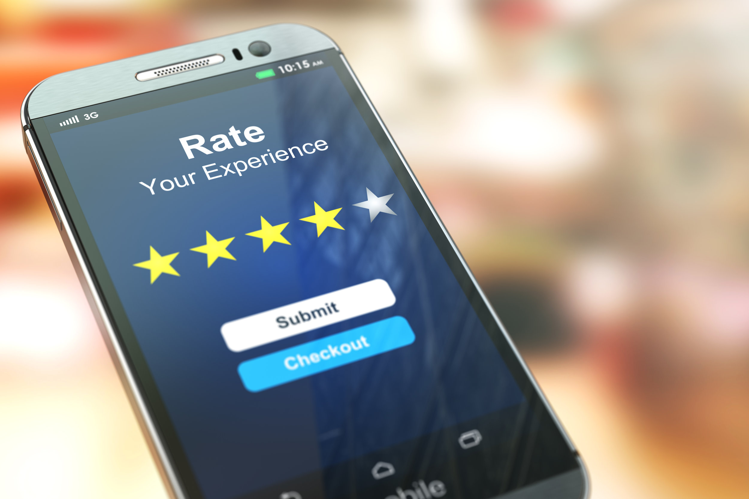 Smartphone or mobile phone with text rate your experience on the