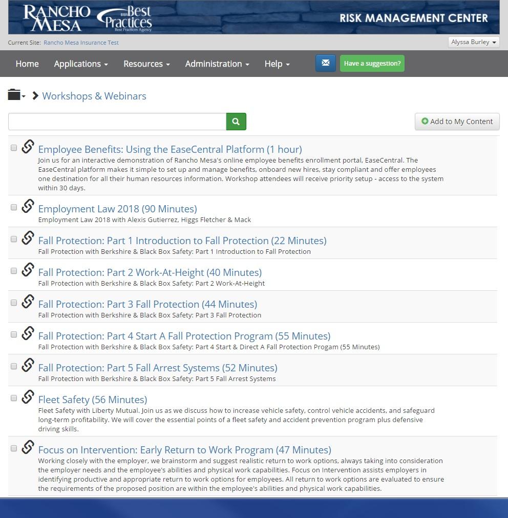 Risk Management Center Workshop Video List