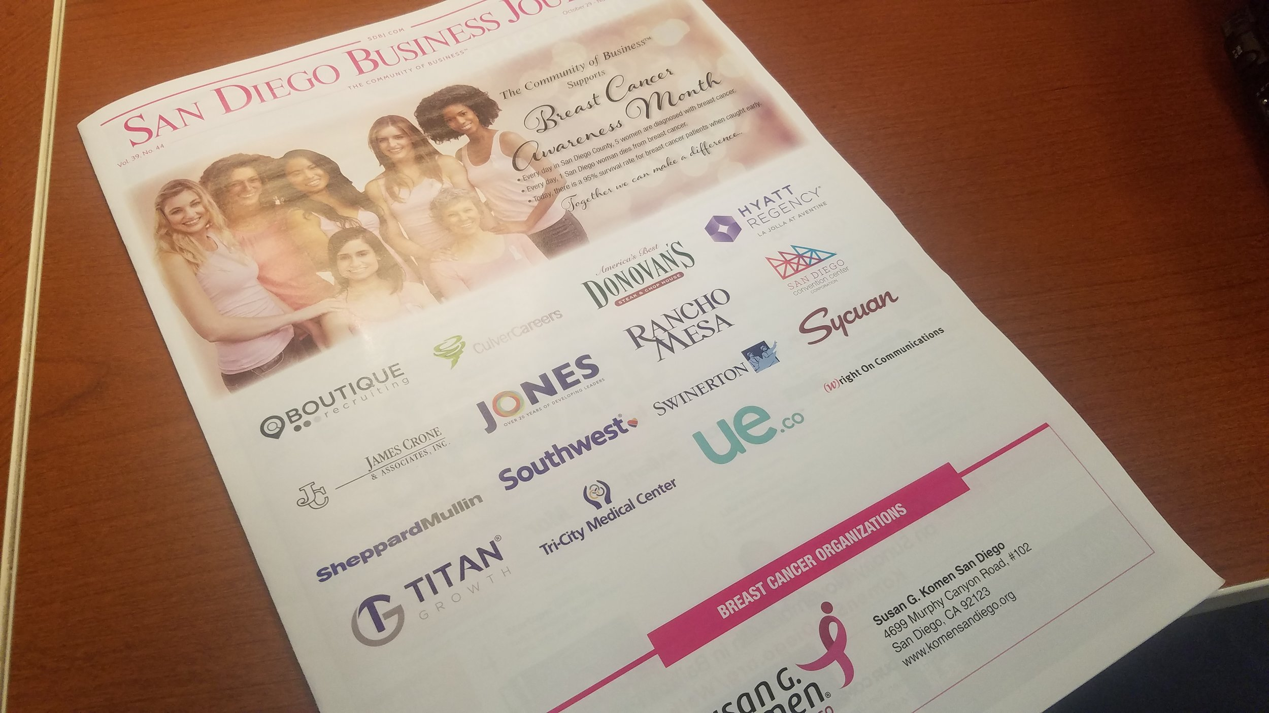 Cover of October 29, 2018 - November 4, 2018 San Diego Business Journal showing women in pick with logos of companies that support breast cancer awareness.