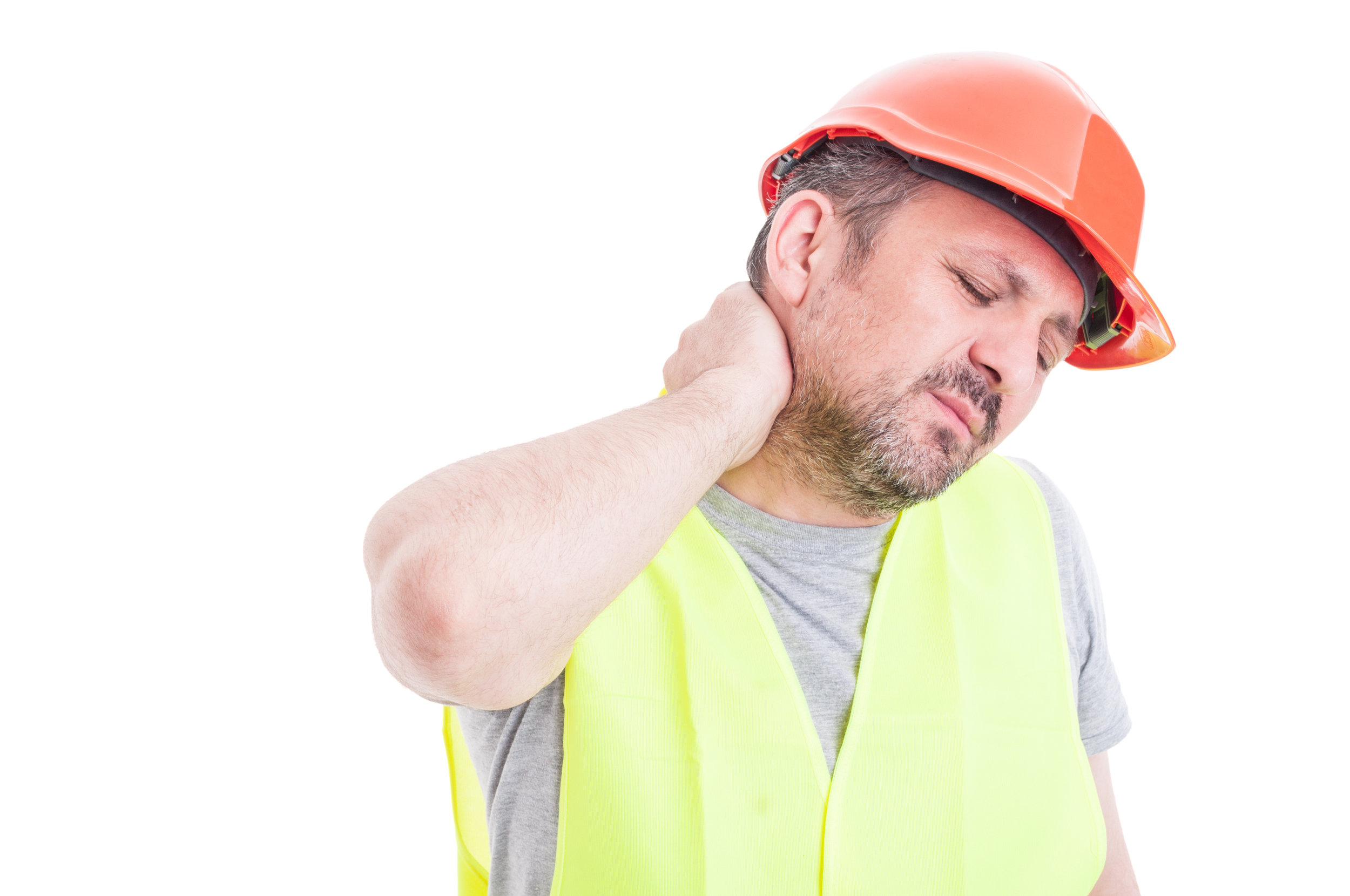 Construction worker holding neck in pain.