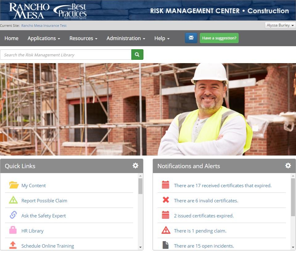 Risk Management Center Screenshot.