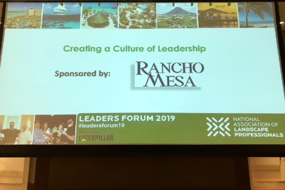 Leaders Forum giant screen with Rancho Mesa logo displayed as the sponsor