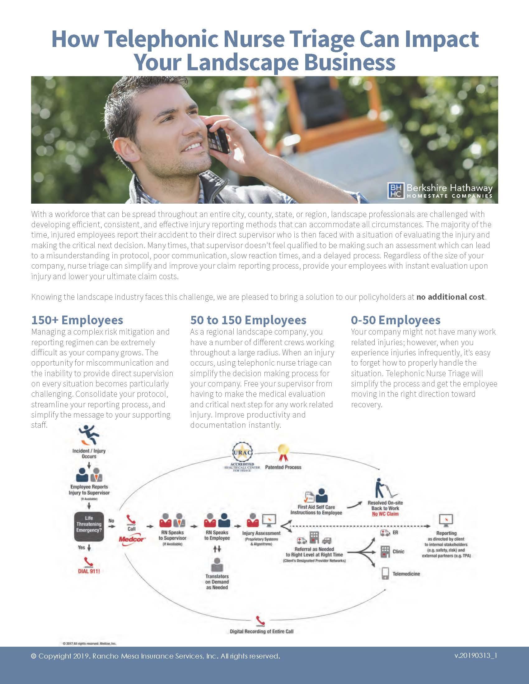 Telephonic Nurse Triage for Landscape Businesses