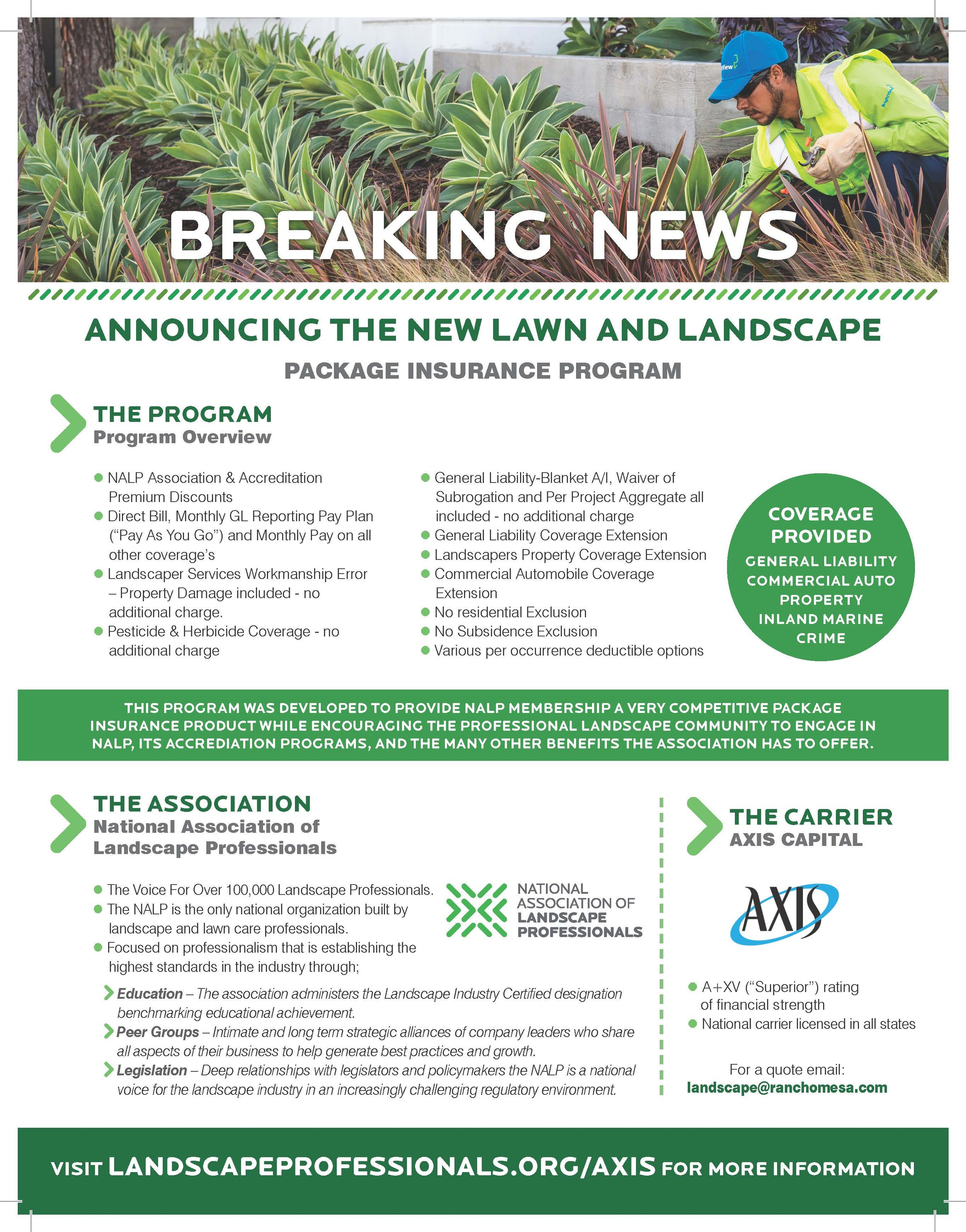 Announcing the New Lawn and Landscape Package Insurance Program