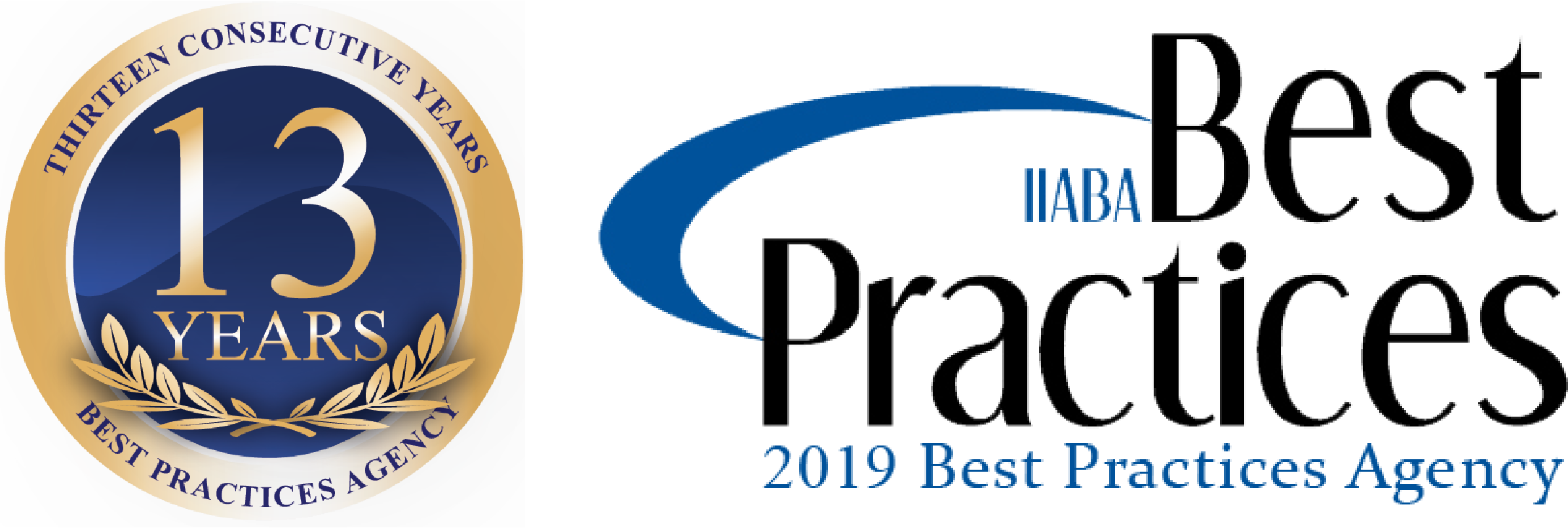 Thirteen Consecutive Years Best Practices Agency and IIABA 2019 Best Practices Agency Logo
