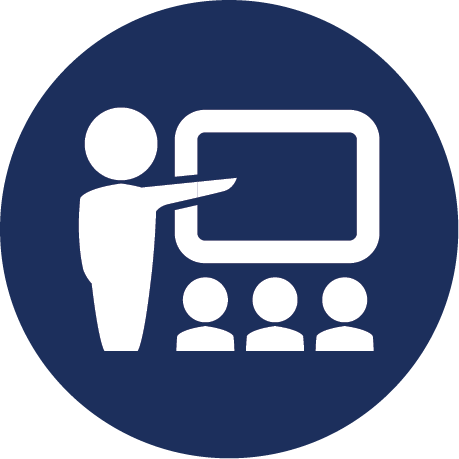 Person pointing to screen with three people silhouettes Icon