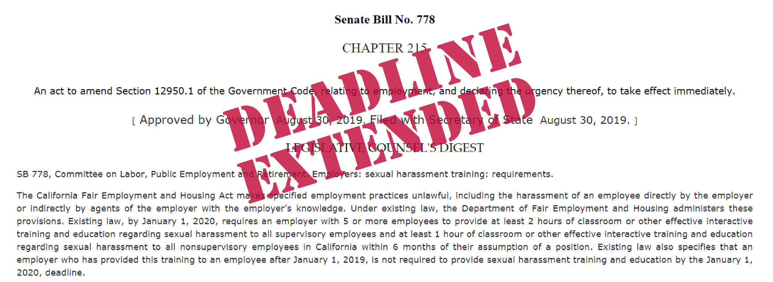 "Senate Bill 778 with ""Deadline Extended"" stamped in red letters."