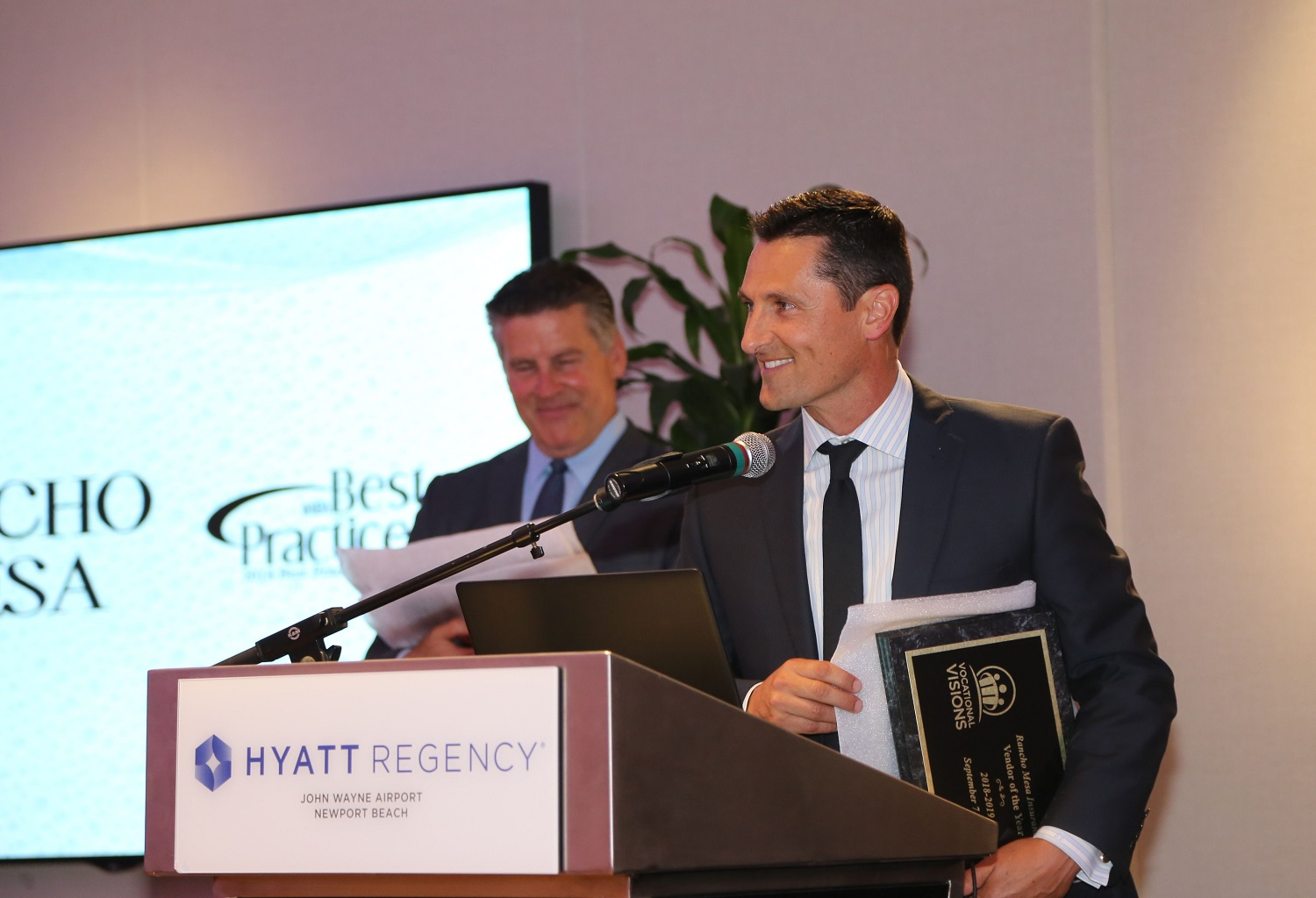 Sam Brown , Vice President of the Human Services Group at Rancho Mesa, accepting the Vendor of the Year award.