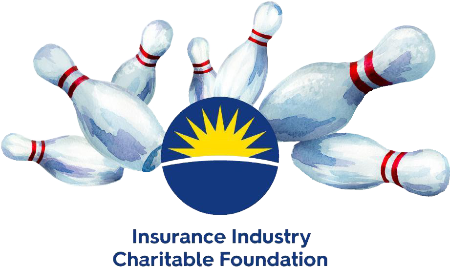 IICF Bowling for Charity logo sign.