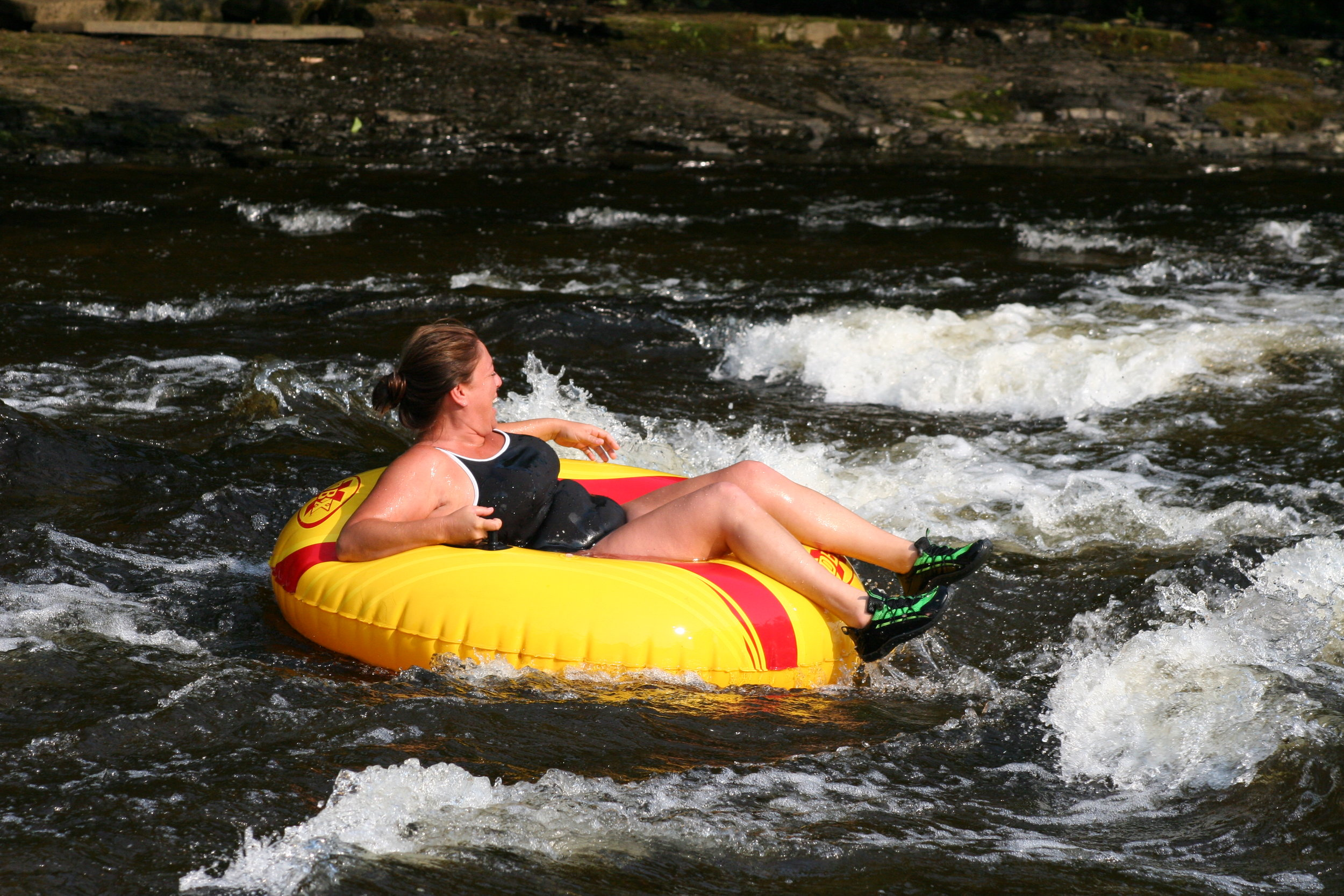 River tubing on Fish Creek at Wellnesste Cabin Rentals in Taberg NY