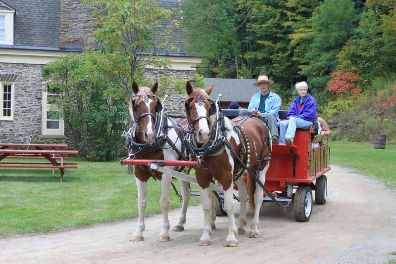 Fall hay ride enjoyed by Wellnesste Lodge Cabin Rental Guests in Taberg, Central NY