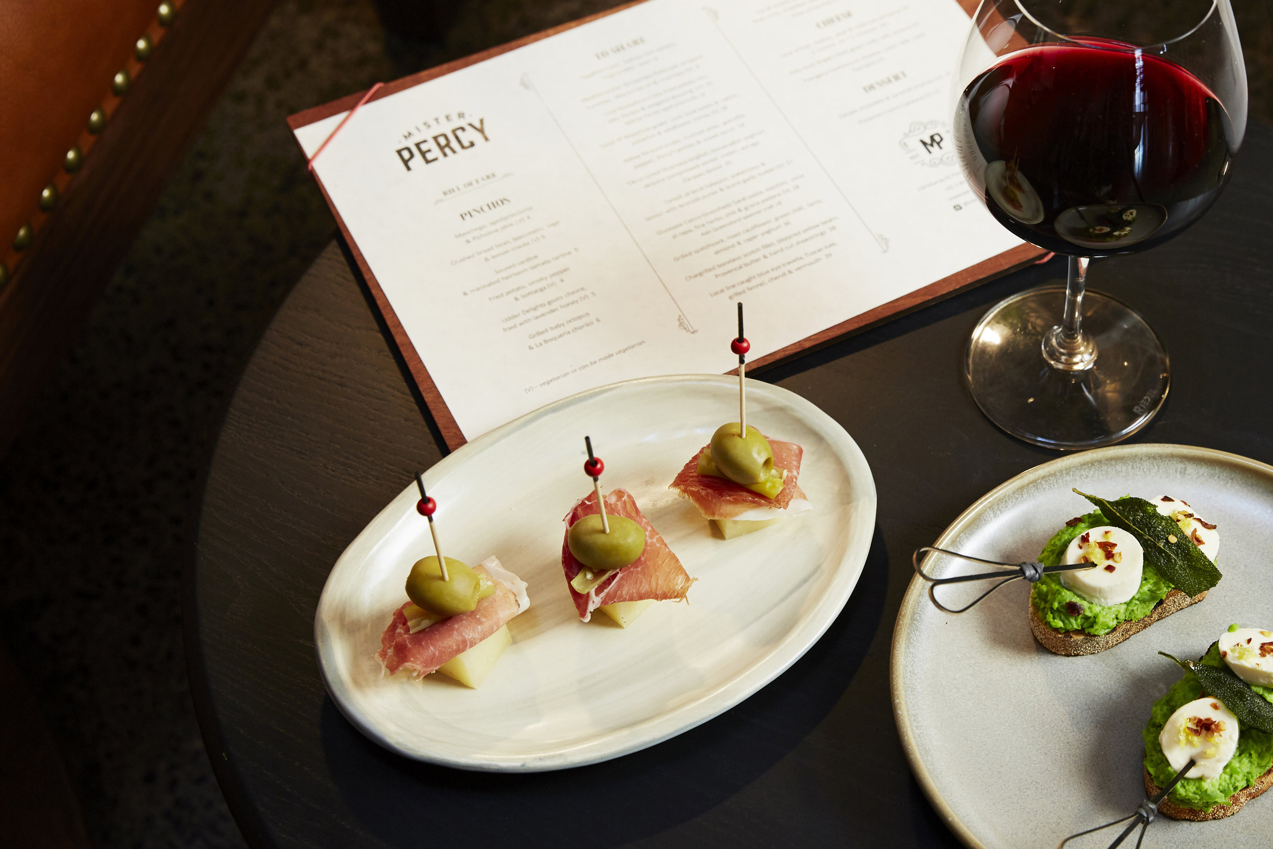 Manchego and prosciutto, and broad bean and bocconcini pinchos.jpg