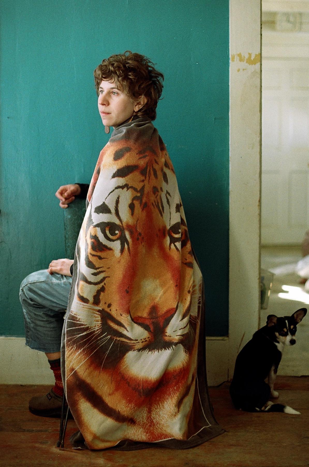 Becca + her tiger towel