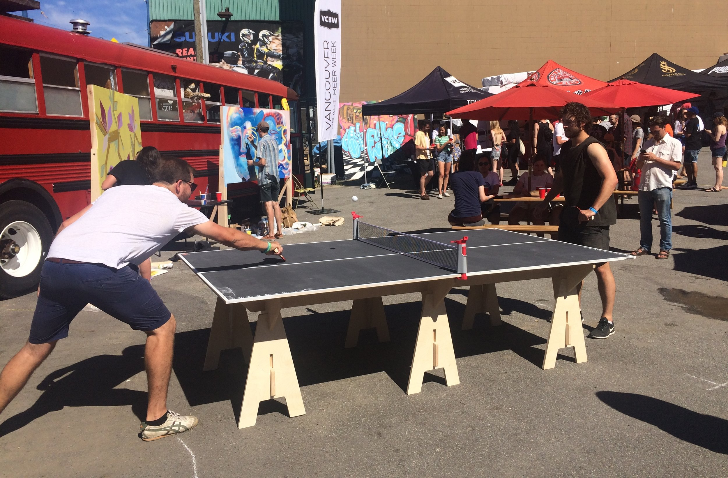 Ping-pong participants at the Strathcona Street Party put on by VMF in June 2017