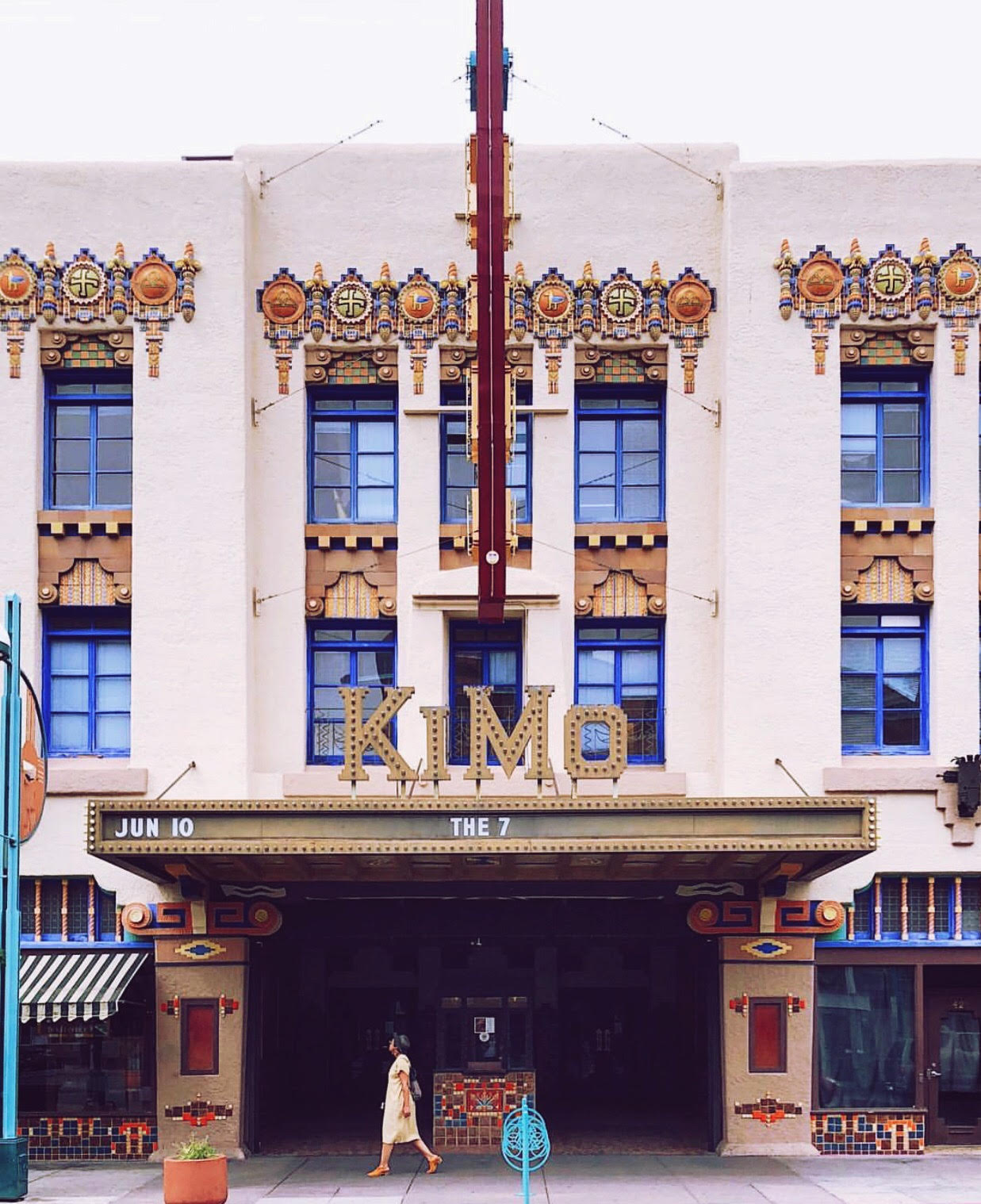 The historic   KiMo Theatre   was completed in 1927 along Route 66 in Albuquerque, NM. The stunning structure is a rare example of 'Pueblo Deco' architecture, a style that combined elements of Art Deco and Pueblo Revival design.The KiMo was originally owned by  Oreste Bachechi , an Italian immigrant and entrepreneur who achieved his own American Dream after starting several successful businesses in New Mexico, inspiring other Italians to try their luck in Albuquerque, and then assisting his countrymen by loaning them money for passage and helping them find work when they arrived.  Photo by  Matthew Dickey