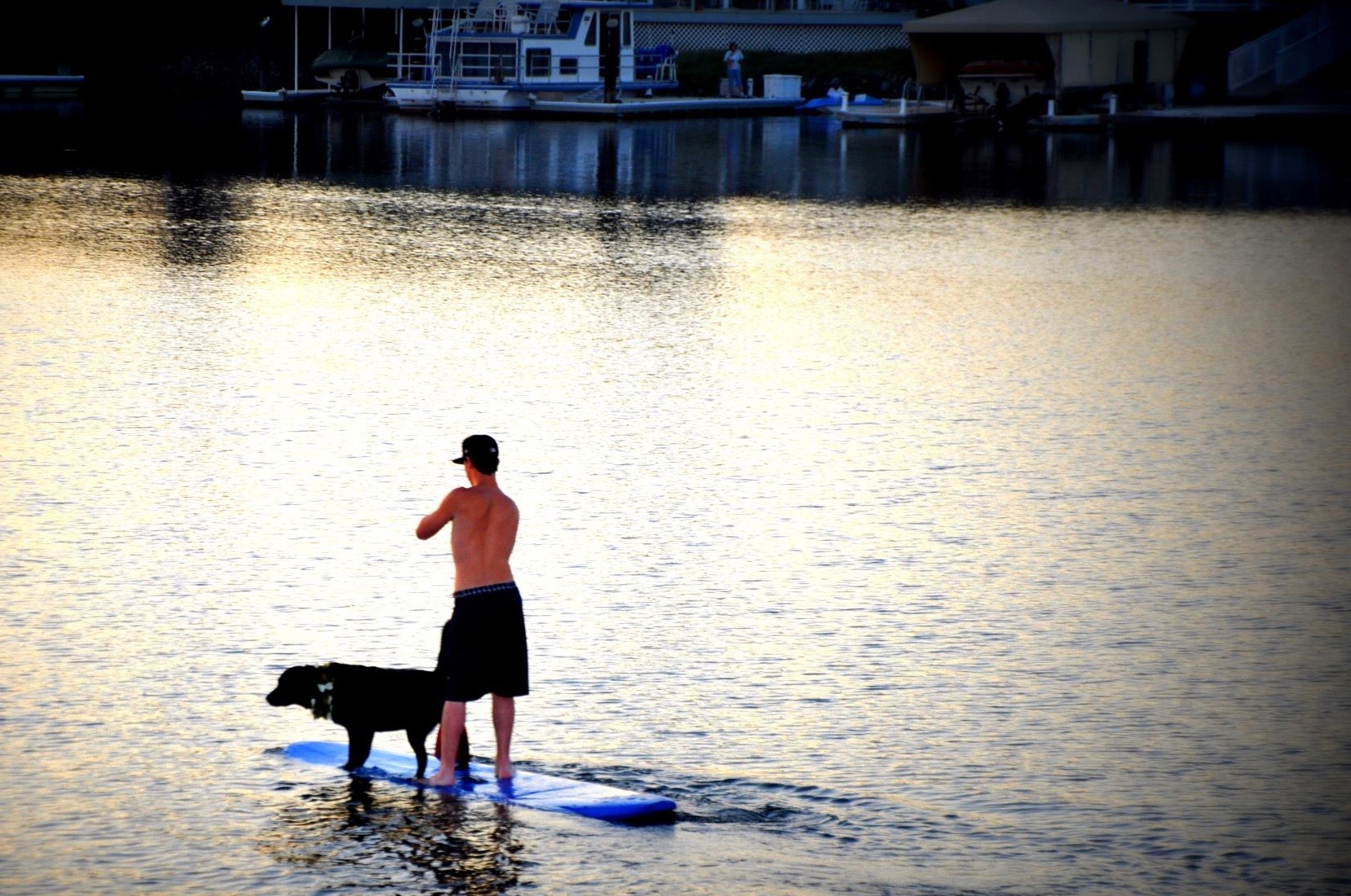 Paddle boarding with a friend