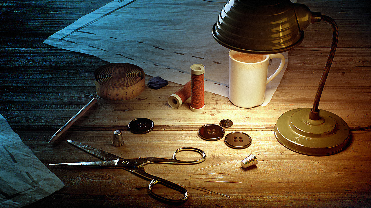 by  Miguel Rojo . Very clean, and easily readable image. The wood and lamp texturing is great :)