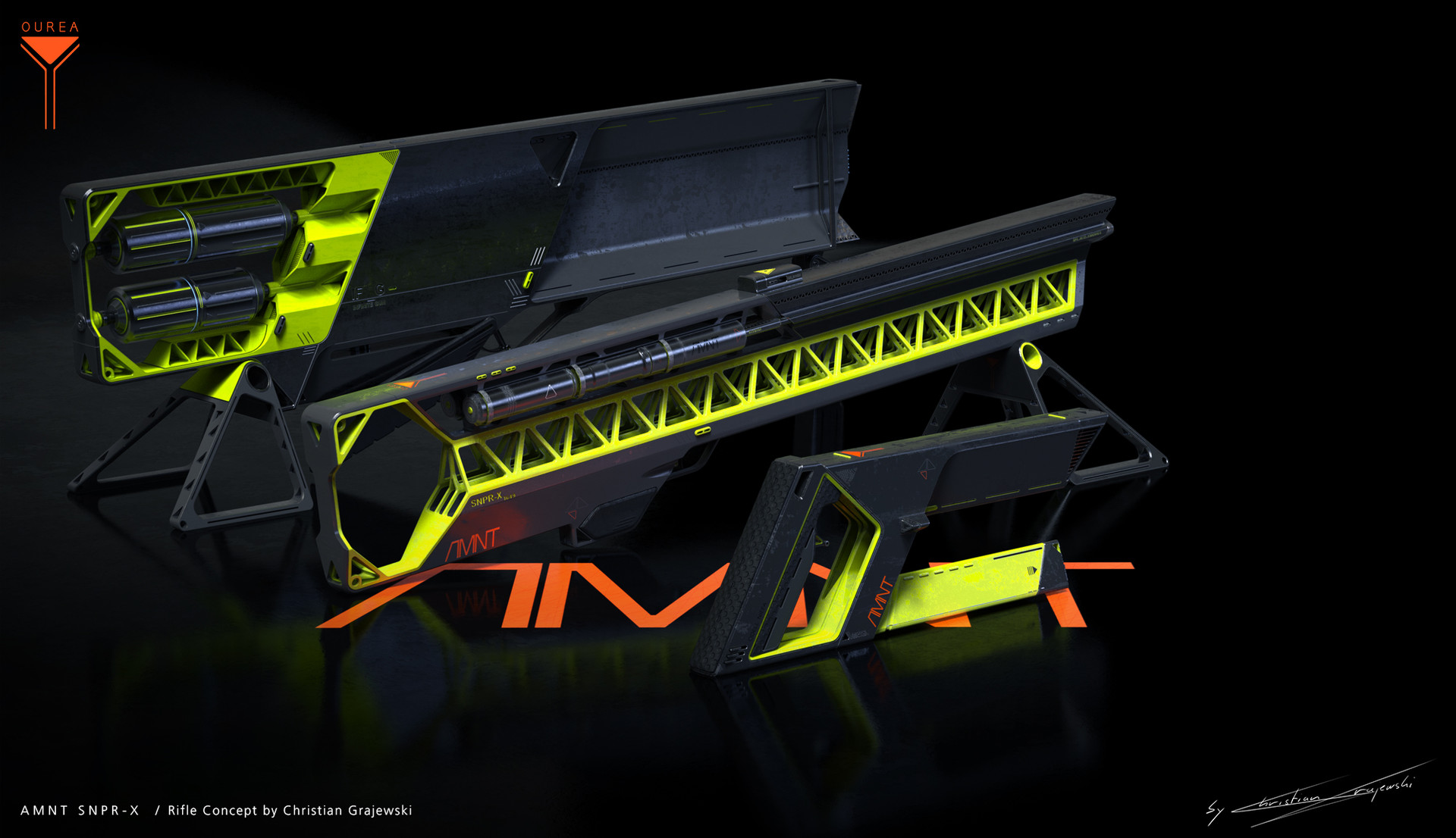 Awesome 3D printed rifle concept, by  Christian Grajewski , with a unique use of the  Overlay textures . Made with Alias design and Keyshot.