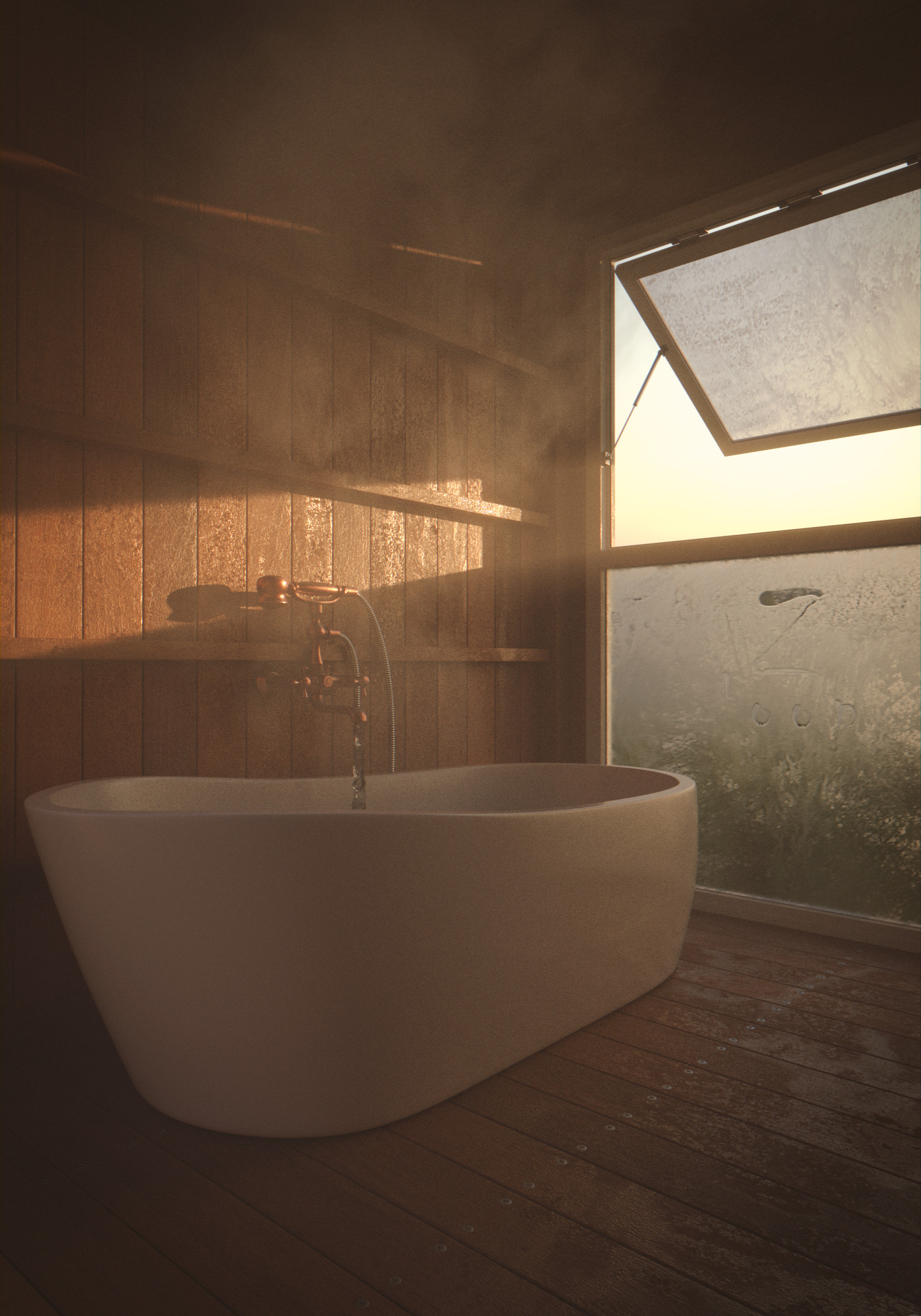 Minimalistic yet highly detailed bathroom,by  Gaiduk Dmytro using  Overlay  and  Wood  materials. Made with Blender.